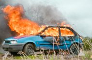 Route 130 Collision and Car Fire Injures One
