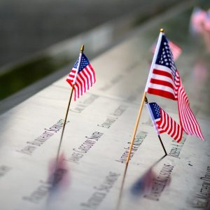 American flags at ground zero, representing America's continued commitment to help survivors with JASTA lawsuits