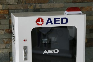 A Defibrillator in a case similar to the defibrillator recall occurring with Stryker's LIFEPAK 15