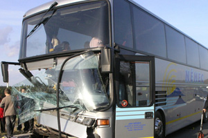Charter Bus Hits Overpass Injuring Dozens of High Schoolers
