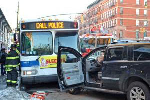 MTA Bus Crash and Two Cars Injures 23 at Utica Ave. & Clarendon Rd