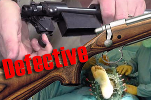 defective rifle fired cause by serious injury