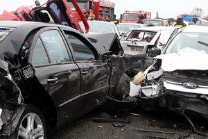 Five people severely injured in a five-car accident in west hills