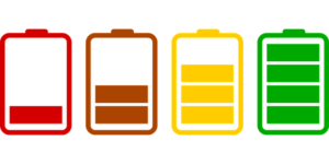 Battery icons at different power levels