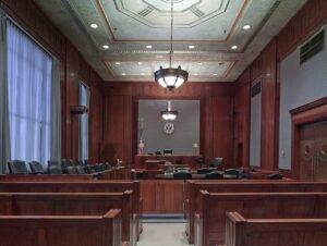 A courtroom where slip and fall cases are tried